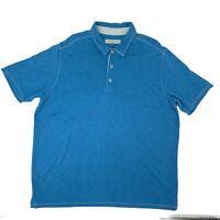 Tommy Bahama Polo Shirt Men's Size XXL Blue Short Sleeve Casual Modal Blend