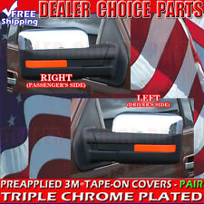2009-2014 FORD F150 F-150 ABS TRIPLE Chrome Mirror COVERS Overlays Trim TOP HALF