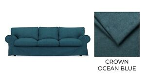 EKTORP IKEA 3 Seat Sofa Bed Cover, Slipcovers - Crown Ocean Blue