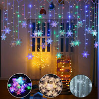 Christmas LED Curtain Window Snowflake String Fairy Lights Waterproof Decor .