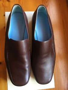 womans Bally size 5.5 EU38.5 leather shoe dark chocolate flat slip on loafer VGC