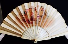 Antique hand fan watercolor on silk 1880 France hand painted Court Game w. bone