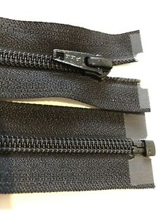 NO-5,YKK, NYLON COIL BLACK OPEN ENDED ZIP 36 INCHES / 91 CM LONG