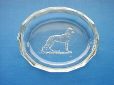 "Vintage Bohemian  Art Glass Pin Tray Intaglio Engraved ""Alsatian"" By Hoffmann"