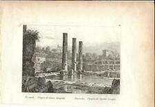 Stampa antica POZZUOLI tempio di Giove Serapide Napoli 1834 Old print Engraving