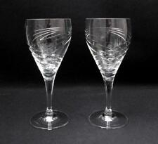 "PAIR OF QUALITY ROYAL DOULTON CUT CRYSTAL ""FINSBURY"" WINE GLASSES GOBLETS"