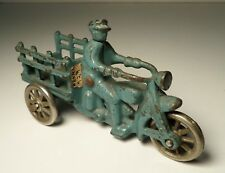 Hubley Indian Traffic Car Blue Cast Iron Motorcycle Stake Body & Nickel Wheels