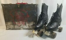 Vintage BETTY LYTLE Hyde Chicago Black Leather Roller Skates Mens 9 w Case