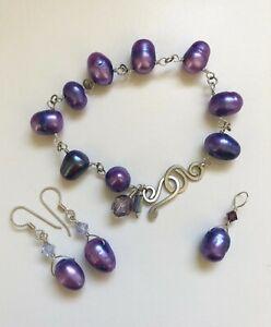 Purple Violet Pearl & Sterling Silver Bracelet Earring Set