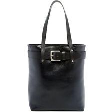 Jack Georges Belmont Open Top Tote Bag, Leather Handbag in Black