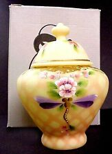 Fenton Burmese Diamond Optic Temple Jar Connoisseur Mint In Box