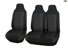 For Vw Crafter Mercedes Sprinter Tyre Design Black Soft Fabric Van Seat Covers