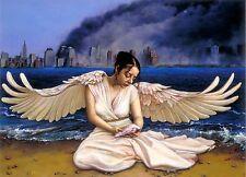 "Original Oil painting ""An Angel's Sorrow"" by Qi Debrah,Portrait,16""x20"",US"