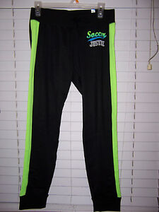 Justice Active Soft SOCCER Leggings Girl's Size 20 NWT Black/Green
