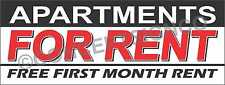 3'X8' APARTMENTS FOR RENT BANNER Outdoor Sign LARGE Free First Month Specials
