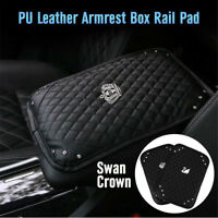 Car Armrest Pad Center Console Box Leather Rhinestone Diamond Armrests Rail Pads