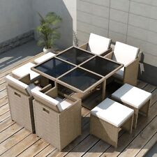 #vidaxl 21pc Wicker Rattan Outdoor Garden Dining Furniture Set Table Chairs Grey