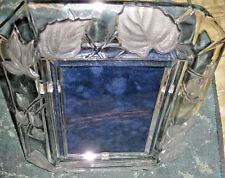 """Glass Frosted floral/Leaf Picture Frame.Ttl sz 9""""x11""""= 4'x6"""" Pic sz"""