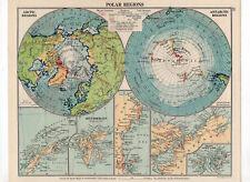 Antique Map Of Polar Regions George Philip & Sons C1930