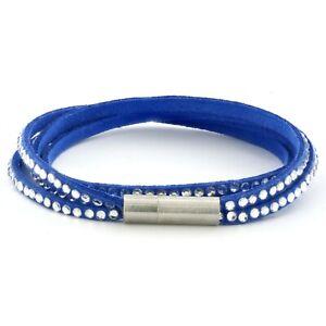 Womens Navy Leather Beaded Bracelet, Girls Layer Stack Studded Wristband