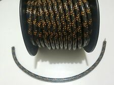 8mm SUPPRESSION Core BRAIDED CLOTH BLACK ORANGE SPARK PLUG WIRE DIY per foot 1'