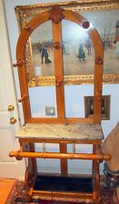 HALL TREE RARE 19 C WOOD, BRASS ,MARBLE&TIN- COAT ,UMBRELLA & HAT .RACK 80 X38""