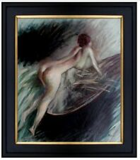 Framed Quality Hand Painted Oil Painting Nude Pushing Boat 20x24in