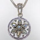 Pendentif pierre de lune argent 925 pour collier 7 précieuses Arc-en-ciel