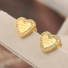 Michael Kors Gold Tone Heart Crystal Earrings