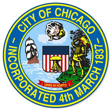 "City of Chicago Seal car bumper sticker window decal 4"" x 4"""