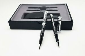 Pen Set with Roller Pen, Ballpoint Pen and a Real Leather Pouch for Pens