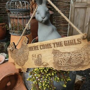 Chicken Sign Here Come The Girls Hen | Eggs | Farm | Coop | Chick | Wood