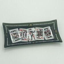 """Rare Vintage Bridge Poker Card King Dish 1980's Smoked Glass 8"""" x 4"""" Gambling"""