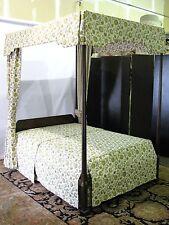 Rare Kittinger Historic Newport Mahogany Canopy Bed w/Original Custom Hangings
