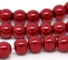 Cuentas rojos redondos para joyería artesanal