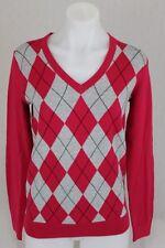 New Tommy Hilfiger Womens Sweater V-neck Pima Cotton Jumper Argyle Grey Pink XXL