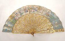 Eventail bois sculpté gravures scène champêtre personnages Art Nouveau XIXè