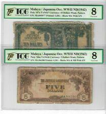 Mazuma *GN37 Malaya Japanese WWII JIM 1942 $5,$10 Serial Number Both VG8