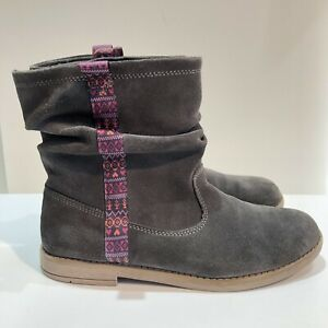 TOMS Girls Sz 6 Gray Suede Slouch Ankle Pull-On Laurel Boots