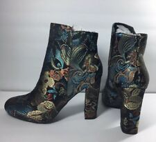 """BAMBOO 4"""" Block Heels Ankle Boots Booties Floral Fabric US 6M EUR 36 BU12318"""
