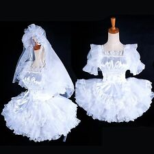 french Sissy maid Wedding dress satin lockable  Tailor-made[G1596]