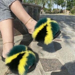 Max Large XXL Real Fox Fur Slides Women's Sliders Slippers Sandals Flat Shoes