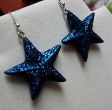 NORA WINN UNIQUE  EARRINGS BLUE GLITTER STAR DALLAS COWBOYS CHRISTMAS