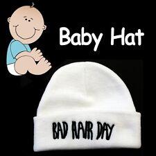 BABY BEANIE HAT ***BAD HAIR DAY*** SOFT COZY WHITE CAP HAT