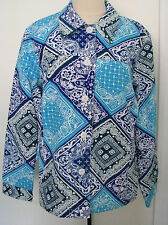 COLDWATER CREEK WOMANS Multicolored Batik Style 100% Cotton Jacket Size 1X , NWT
