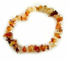 "FIRE AGATE HEALING CRYSTAL GEMSTONE 7"" CHIP STRETCH BRACELET"