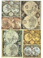 A4 Sheet Premium Paper for Decoupage - Antique Vintage World Maps - Craft Hobby