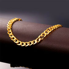 U7 18K Gold Plated Cuban Curb Chain Ankle Anklet Barefoot Bracelet Foot Jewelry