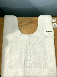 *BRAND NEW* WHITE COTTON RUG TOILET MAT FOR BATHROOM BY SONOMA 20 IN. x 24 IN.