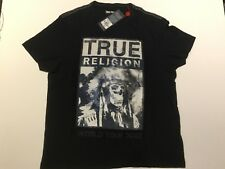 TRUE RELIGION MEN HEADDRESS SKULL CREW NECK PREMIUM T-SHIRT BLACK NWT XL $69